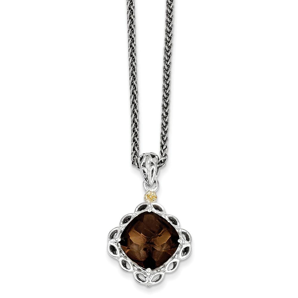 Sterling Silver w/ 14k Yellow Gold Smokey Quartz Vintage Style Necklace