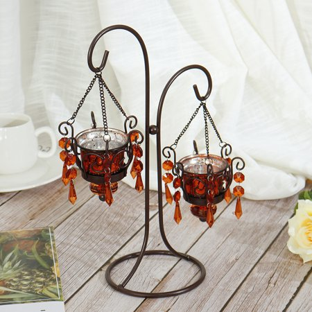 (With Crystal Pendant Ornaments) Table Decoration Romantic Creative Crystal Candle Candlestick Holder Candlelight Desk Stand for Wedding Anniversary Celebration Home Decoration (Home Celebrations)