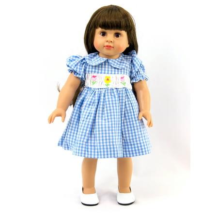 Plaid Smock (Blue Plaid Dress with Smocked Detail  -Fits 18