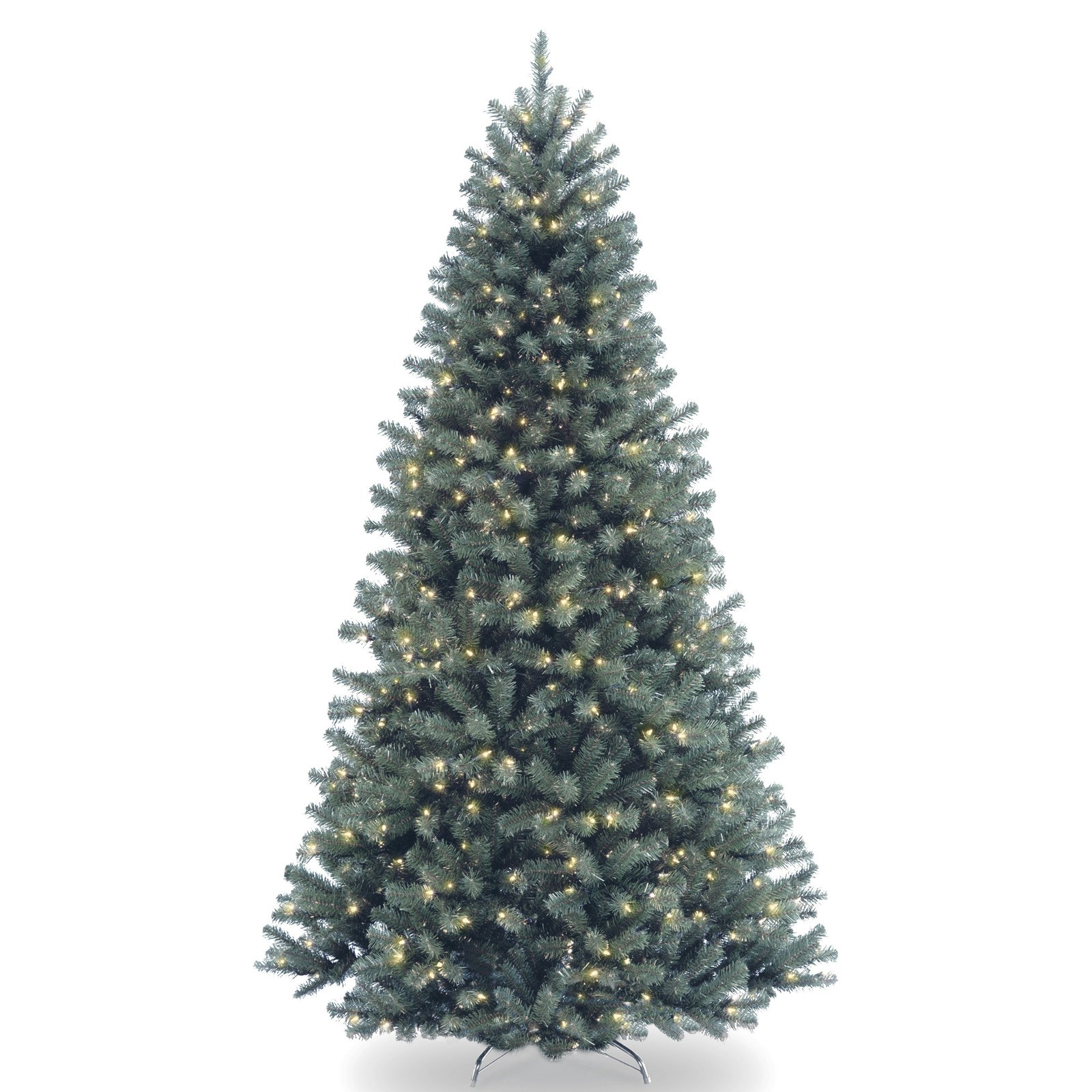 National Tree Pre-Lit 7-1/2' North Valley Blue Spruce Hinged Artificial Christmas Tree with 700 Clear Lights