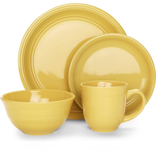Mainstays 16-Piece Stoneware Dinnerware Set, Assorted Colors ...