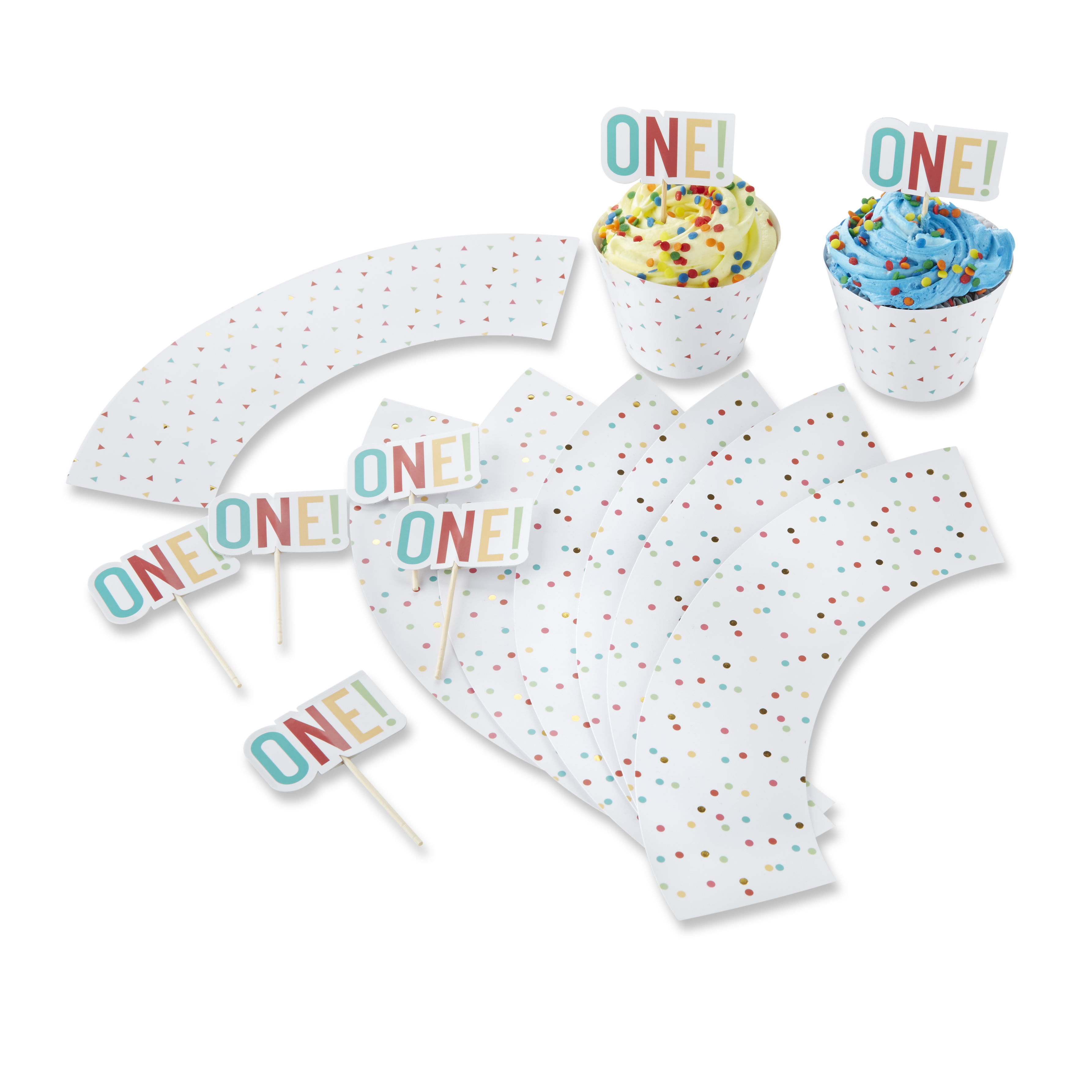(2 Pack) 1st Birthday Cupcake Kit Toppers and Wrappers