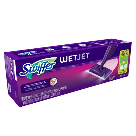 Swiffer Wetjet Hardwood And Floor Spray Mop Cleaner Starter Kit  Includes  1 Power Mop  5 Pads  Cleaner Solution  Batteries