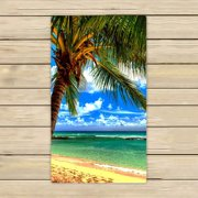 GCKG Beach Palm tree Beach Towel Shower Towel Wrap For Home and Travel Use Size 13x13 inches