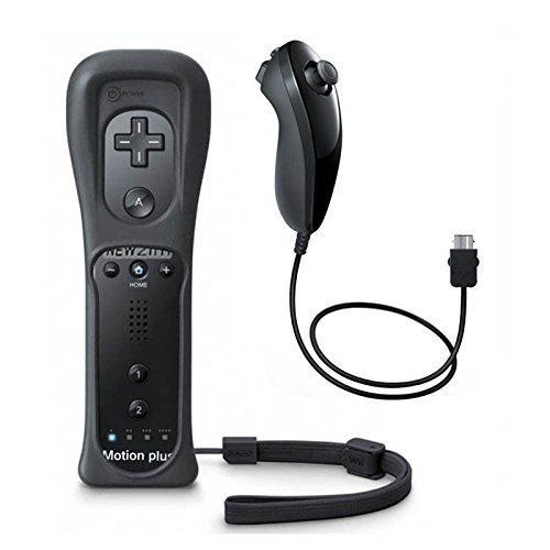 TekDeals Remote and Nunchuck Controller  with Built-in Motion Plus for Nintendo Wii / Wii U Game Console w/ Silicon Case+Strap