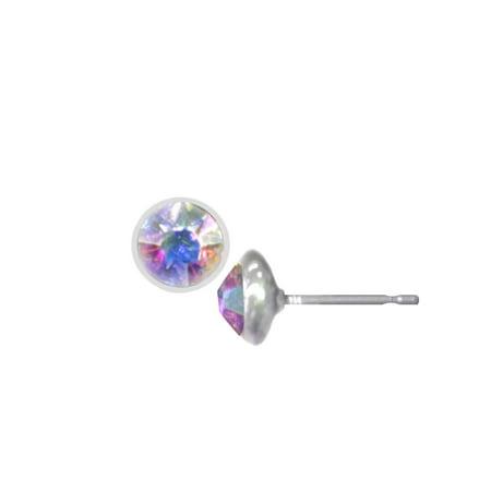Wedding Earrings Silver Aurora Borealis Pierced Stud Earrings