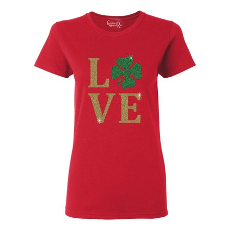 5f44ac53a050 Custom Apparel R Us - Love Clover Gold Glitter St Patrick's Day Womens T- Shirt Top - Walmart.com