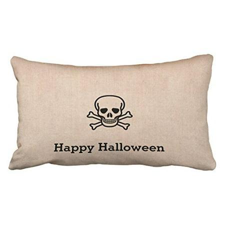 WinHome Vintage Fun Happy Halloween Bone Cross Chic Pattern Polyester 20 x 30 Inch Rectangle Throw Pillow Covers With Hidden Zipper Home Sofa Cushion Decorative Pillowcases (Halloween Bones Clip Art)