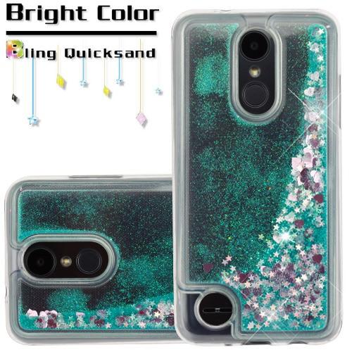For LG Aristo 2 / LG Zone 4 (2018) / LG Tribute Dynasty / LG K8 (2018) / LG Fortune 2 Case Hybrid Quicksand Liquid Glitter TPU Phone Cover (Hearts & Green Quicksand Glitter)