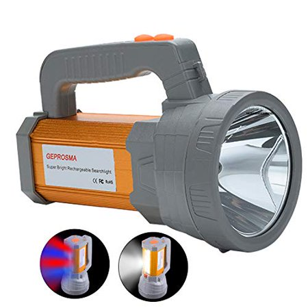 Super Bright Rechargeable LED Handheld Spotlight Flashlight High Lumens Powered CREE Searchlight Large Battery 10000 mah Long Lasting Torch, Side Floodlight Lantern Work Light USB Charges Phone - image 1 of 1