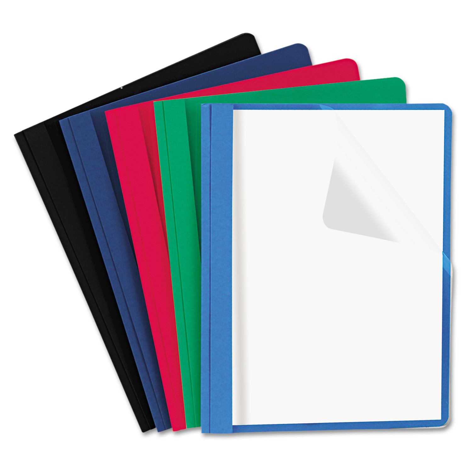 Universal Clear Front Report Cover, Tang Fasteners, Letter Size, Assorted Colors, 25/Box -UNV57119