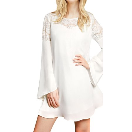Sleeve Panel Dress - Women's Lace Panel Long Bell Sleeves Round Neck Pullover Chiffon Dress White (Size S / 4)