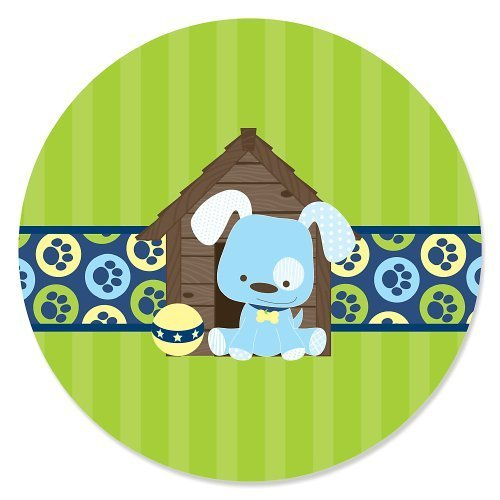 Boy Puppy Dog - Party Circle Sticker Labels - 24 Count