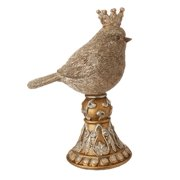 """6.75"""" Silver and Antique Gold Glittered Bird King with Crown on Pedestal Table Top Decoration"""