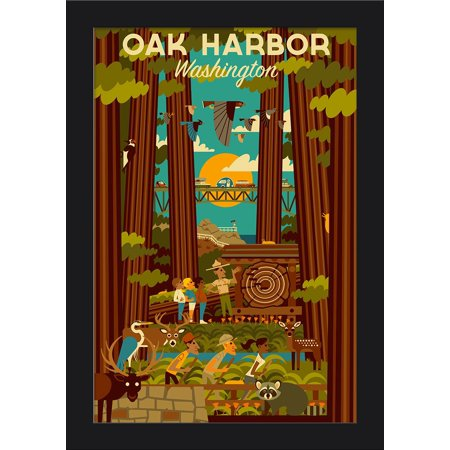 Oak Harbor, Washington - Forest - Geometric - Lantern Press Artwork (12x18 Giclee Art Print, Gallery Framed, Black Wood) Black Forest Wood Products