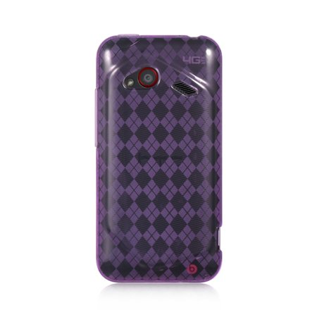 HTC Droid Incredible Case, by Insten Checker TPU Rubber Candy Skin Case Cover For HTC Droid Incredible (LTE version) - Purple - image 3 of 3