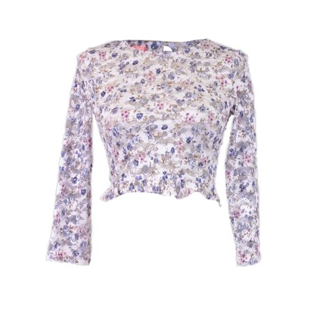ReNamed Lovely Floral Lace Quarter Length Sleeves Ruffle Hem Sheer Knit Crop Top