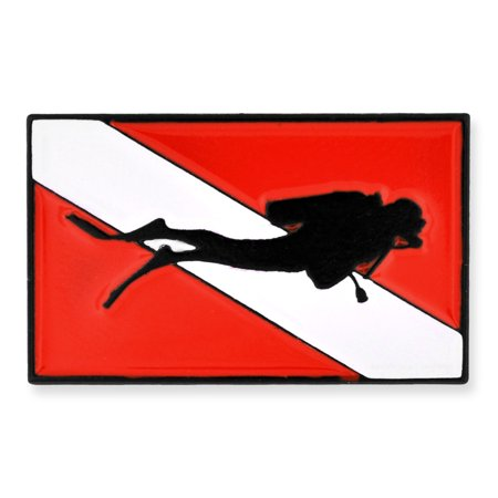PinMart's Scuba Diver Red and White Diving Flag Enamel Lapel Pin Diver Collectible Scuba Diving Pin