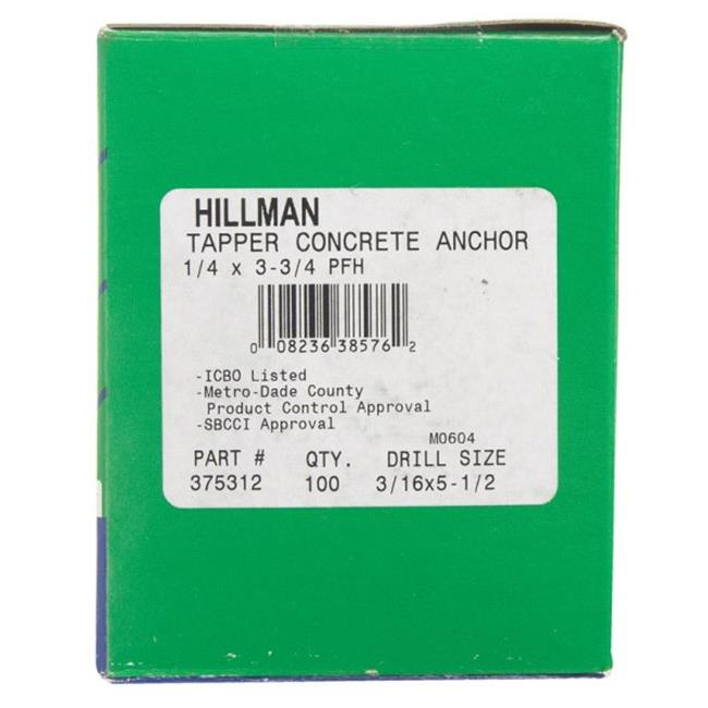 The Hillman Group 5068 Blue Ribbed Plastic Anchors