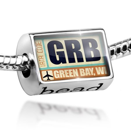 Bead Airportcode GRB Green Bay, WI Charm Fits All European Bracelets Bay Studio Set Bracelet