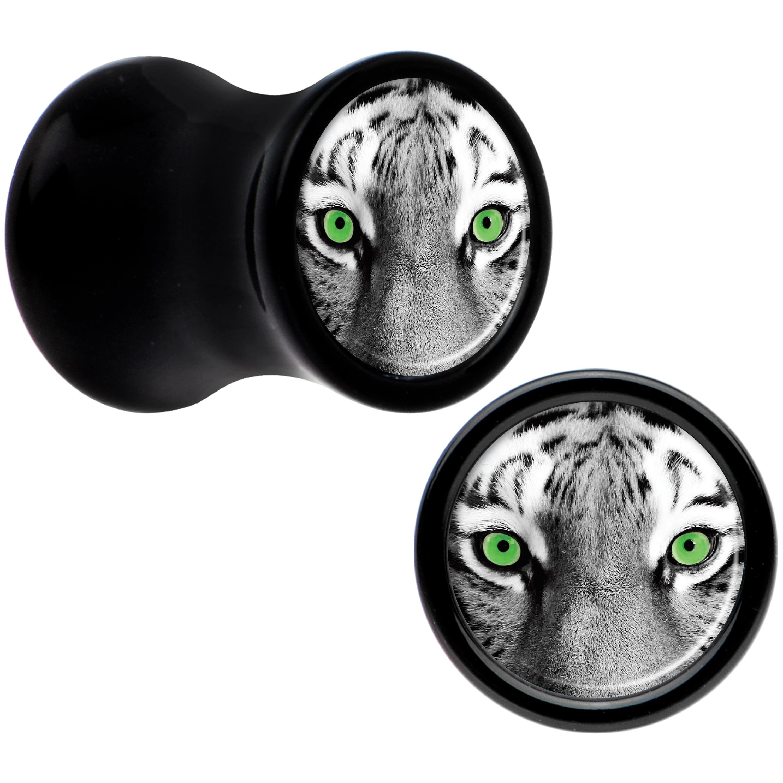 Body Candy Black Acrylic Black White Tiger Eyes Saddle Plug Set 2 Gauge