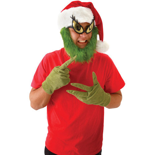 Grinch Hat with Beard Christmas Accessory