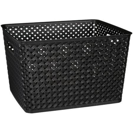 Simplify Large Storage Tote - Black Wicker Baskets