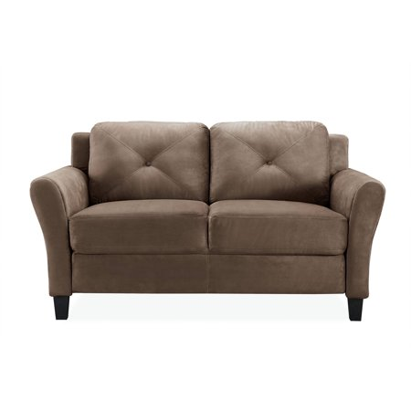 2 Piece Fabric Loveseat - Lifestyle Solutions Taryn Rolled-Arm Loveseat in Brown Fabric