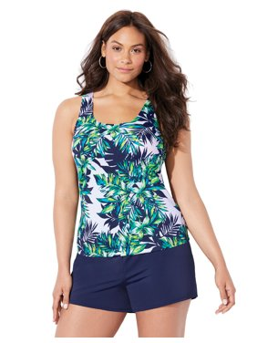 Swimsuits For All Women's Plus Size Tank Tankini Set with Swim Short