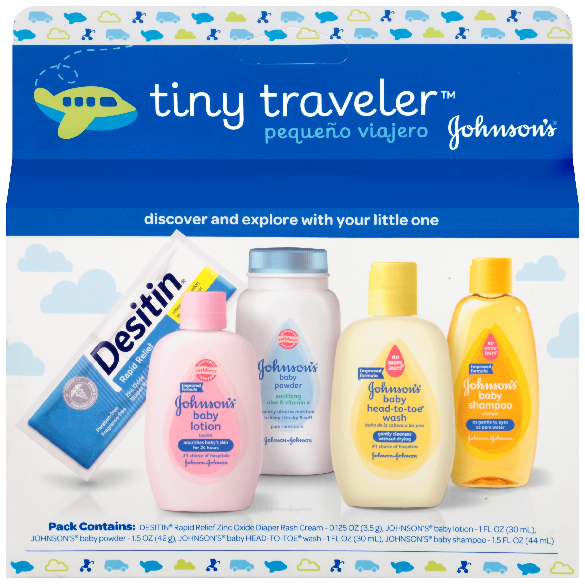 Johnson's Tiny Traveler, Baby Bath And Baby Skin Care Products, Travel Gift Set, 5 Items