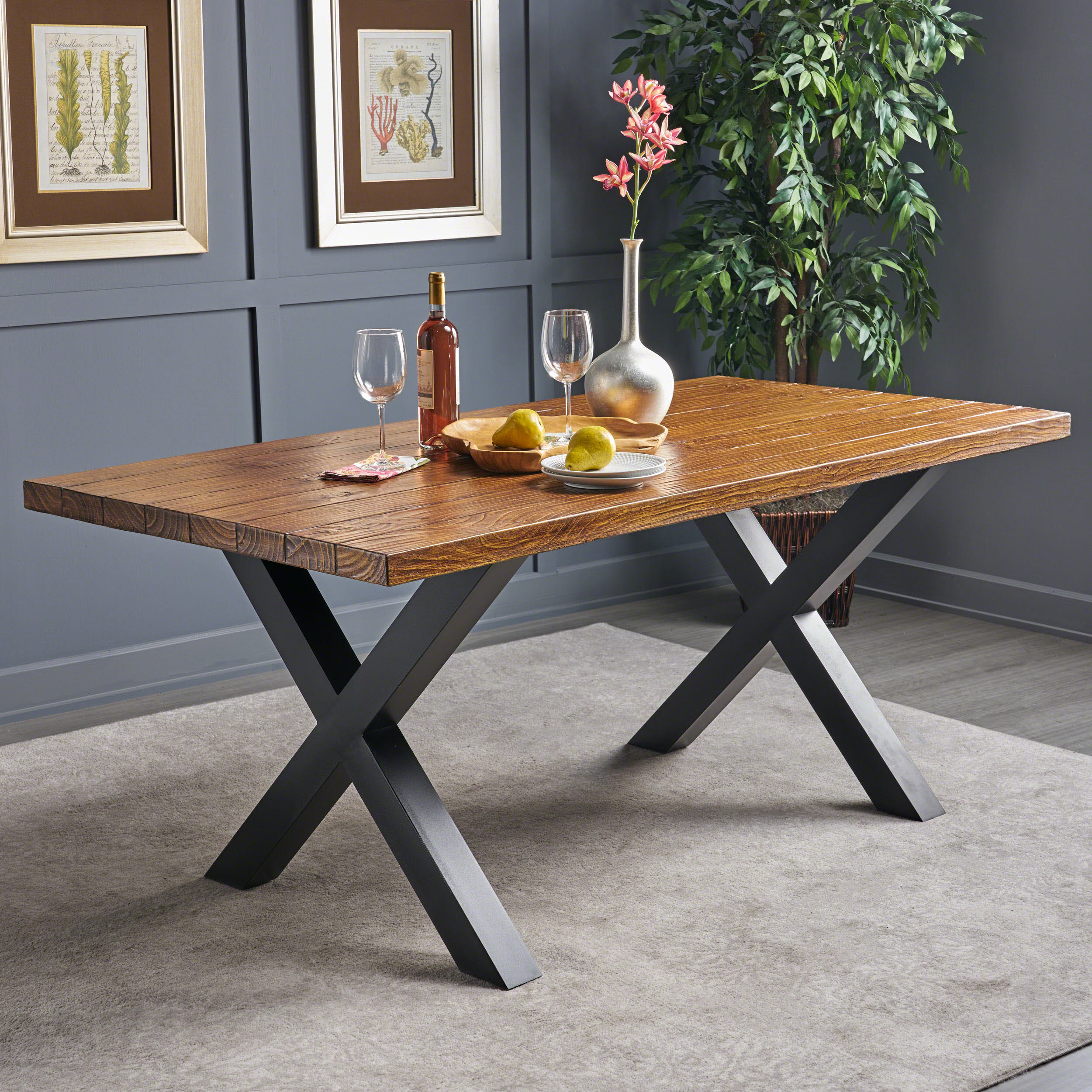 Noble House Orion Indoor Light Weight Concrete Dining Table, Brown Walnut Finish, Black