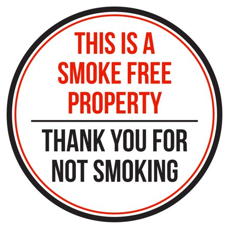 This is A Smoke Free Property Thank You For Not Smoking Red, Black and White Safety Warning Round Sign - 12 Inch - Give Thanks Sign