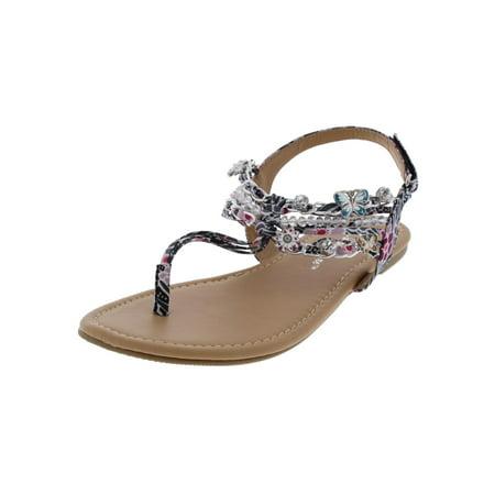 Floral Girls Sandals - Sarah-Jayne Girls Shore Floral Charm T-Strap Sandals