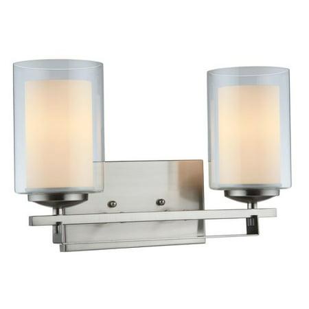 Hardware House El Dorado 2-Light Bath and Wall Fixture - Satin Nickel Nickel Wall Bath Light