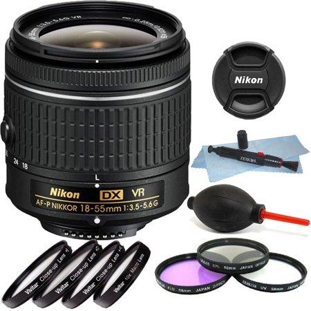 Nikon 18-55mm f/3.5 - 5.6G VR AF-P DX Nikkor Lens + 55mm Top Accessory