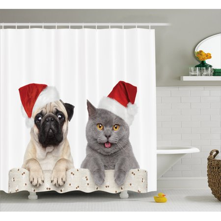 Pug Shower Curtain Christmas Themed Animal Photography With A Cat And Dog Wearing Santa Hats