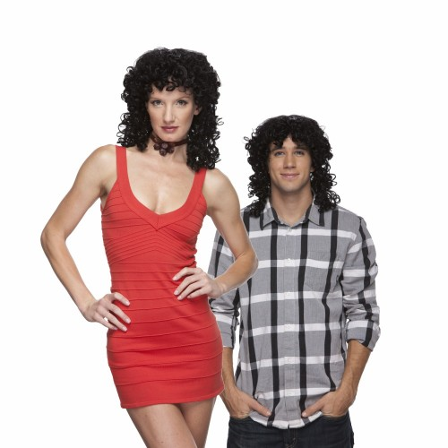 Characters Curly Synthetic Wig - Black