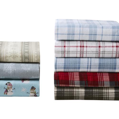 Woolrich Cotton Printed Flannel Sheet Set Queen-Blue Plaid