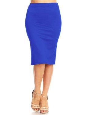 MOA COLLECTION Women's Elastic Waist Stretch Midi Office Pencil Skirt Made in USA S-XL