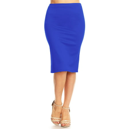 MOA COLLECTION Women's Women's Elastic Waist Stretch Midi Office Pencil Skirt Made in USA S-XL