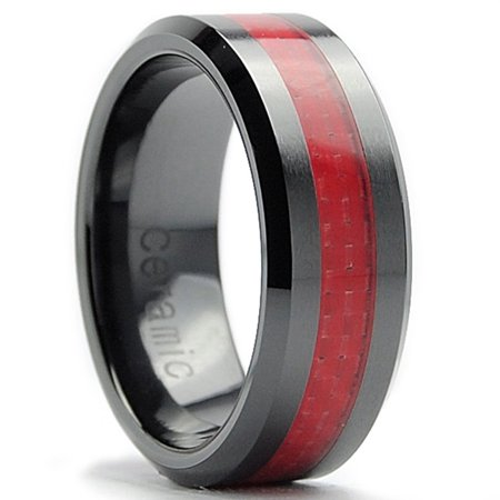 8Mm Flat Top Mens Black Ceramic Ring Wedding Band With Red Carbon Fiber Inaly