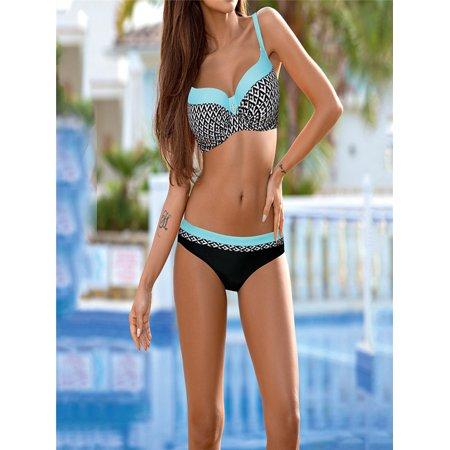 Womens Padded Push-up Bra Bikini Set Swimsuit Bathing Suit Swimwear - Watermelon Suit