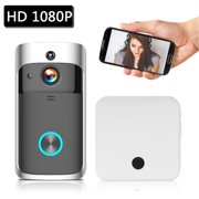 WiFi Smart Wireless Security DoorBell Smart HD 1080P Visual Intercom Recording Video Door Phone Remote Home Monitoring Night Vision with 1pcs Doorbell Chime