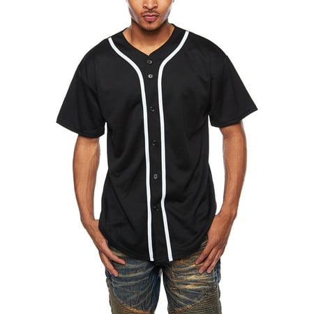 Mens Hipster Active Varsity Short Sleeves Baseball Jersey Shirt Tee PRO-L-Black