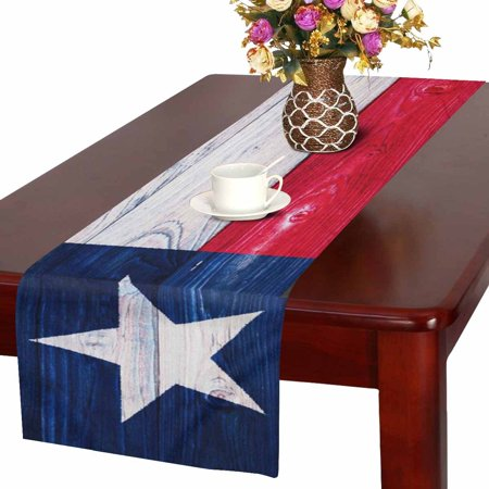 MKHERT American State Flag Wood Texas Flag Table Runner Home Decor for Home Kitchen Wedding Party Banquet Decoration 16x72 Inch ()
