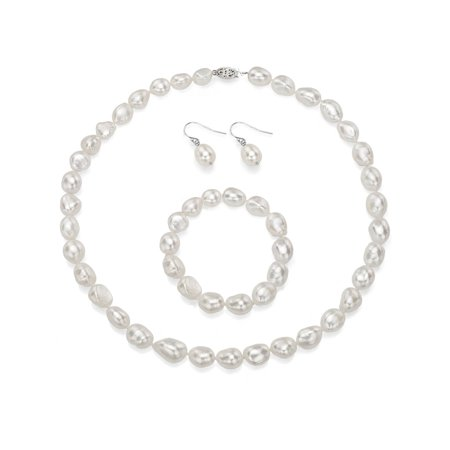 - ADDURN 10-11mm Baroque Freshwater Pearl Necklace with Sterling Silver Clasp, Bracelet and Earring Set