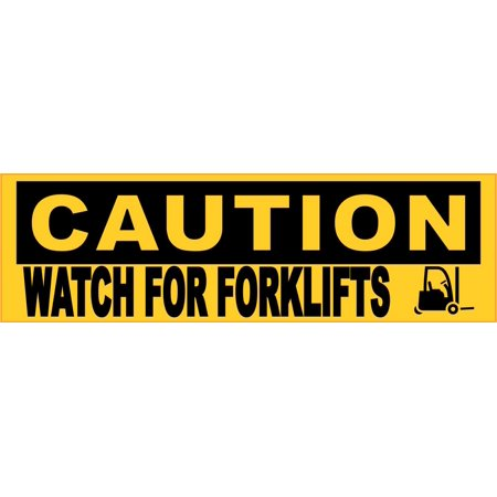 10in x 3in Caution Watch For Forklifts Sticker Vinyl Caution Sign Business Decal