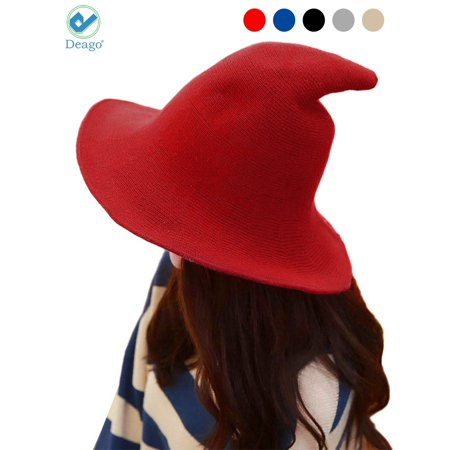 Rei Sun Hat - Deago Women Witch Hat Cotton Wool Fashion Witch Sun Hats For Halloween Christmas Streetwear Party Accessories (Red)
