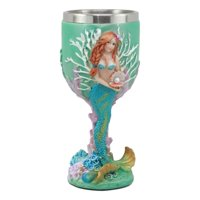"Ebros Turquoise Ocean Marine Coral Reef Ariel Little Mermaid With Pearl Wine Goblet 7oz For Bridal Nautical Fantasy Fairy Tale Gifts Wine Chalice Stylish Wine Tasting 6.5""Tall"