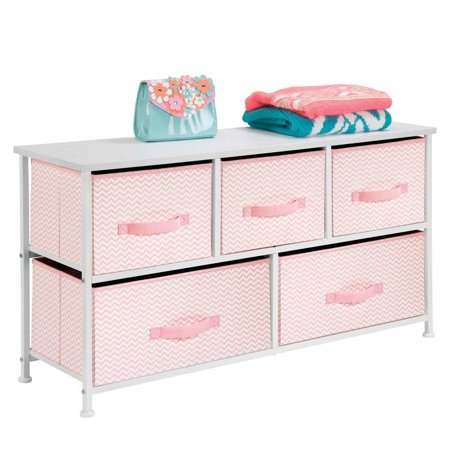 High Supply Extra Wide Dresser Storage Tower - Sturdy Steel Frame, Wood Top, Easy Pull Fabric Bins - Organizer Unit for Bedroom, Hallway, Entryway, Closets - Chevron Print - 5 Drawers, Pink/White Pin